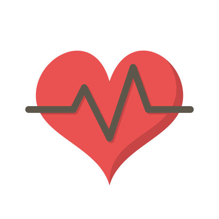heart rate: Heart rate, modern flat icon with long shadow