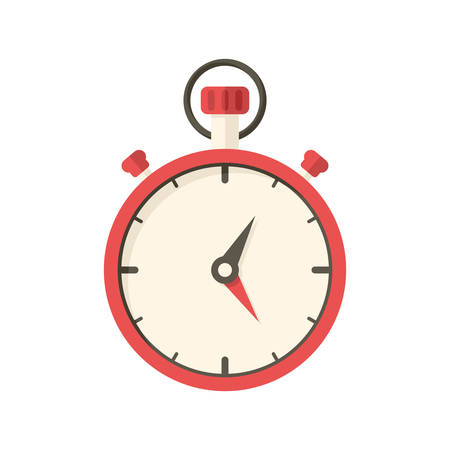 Stopwatch, modern flat icon with long shadow