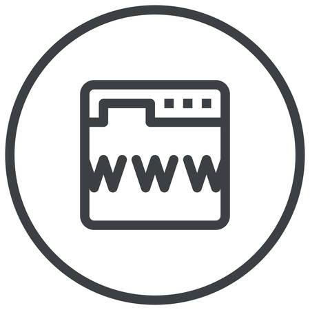Online Presence management, a web browser displays a symbols www, modern vector icon Vetores