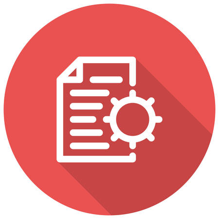 cms: Content Management, document and gear, modern vector icon