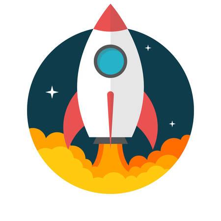 cohetes: Lanzamiento de un cohete, dise�o plano, ilustraci�n vectorial, aislados en fondo blanco