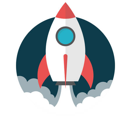Rocket launch, Flat design, vector illustration, isolated on white background Stock Illustratie