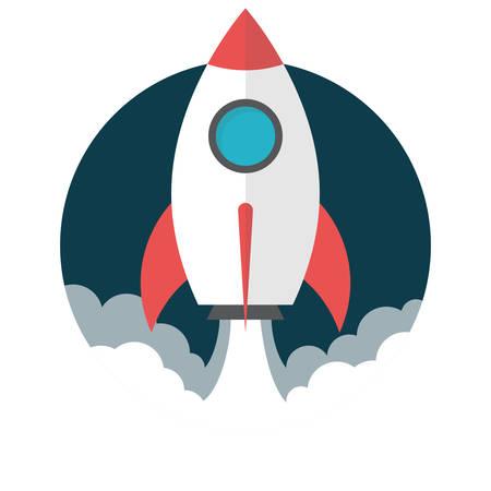 Raketlancering, Flat ontwerp, vector illustratie, geïsoleerd op een witte achtergrond Vector Illustratie