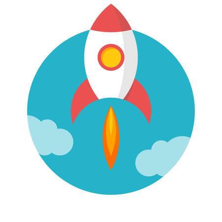 rocket launch: Lanzamiento de un cohete, dise�o plano, ilustraci�n vectorial, aislados en fondo blanco