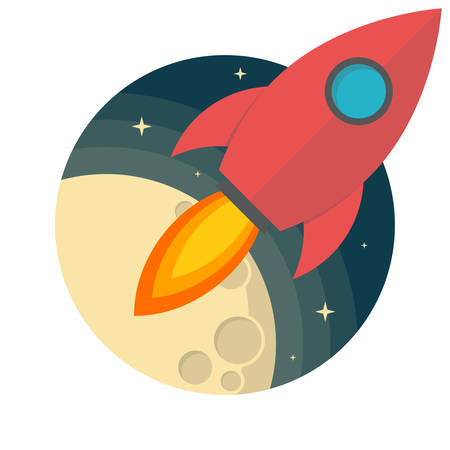 Rocket and the moon, Flat design, vector illustration, isolated on white background