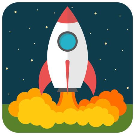 Raketlancering, Flat ontwerp, vector illustratie
