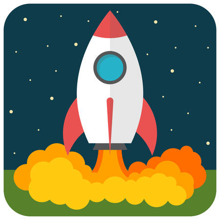 Rocket launch, Flat design, vector illustration