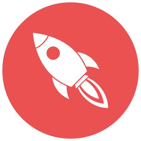 rocket launch: Lanzamiento de Rocket, Dise�o plano, icono vector moderno Vectores
