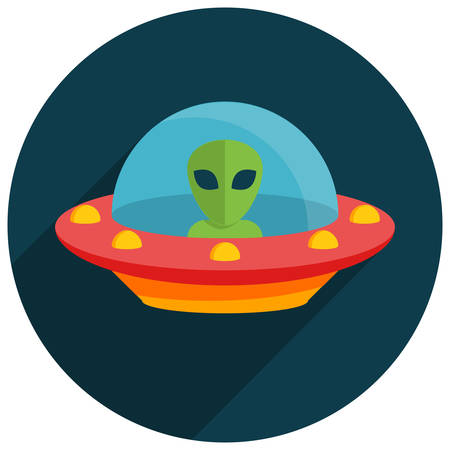 flying object: UFO, Unidentified flying object, Flat design, vector illustration Illustration