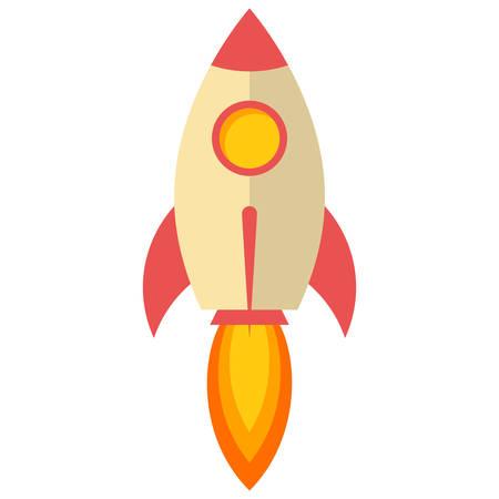 rocket launch: Rocket launch, Flat design, vector illustration, isolated on white background Illustration