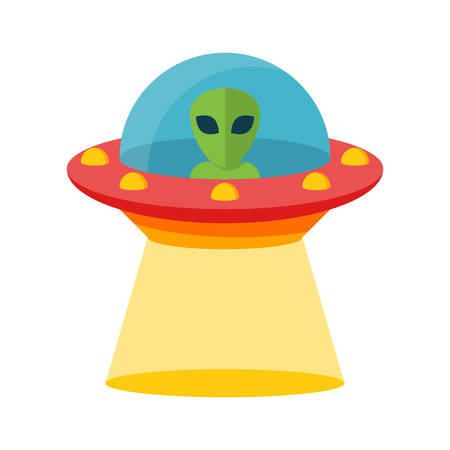 UFO, Unidentified flying object, Flat design, vector illustration, isolated on white background Vector