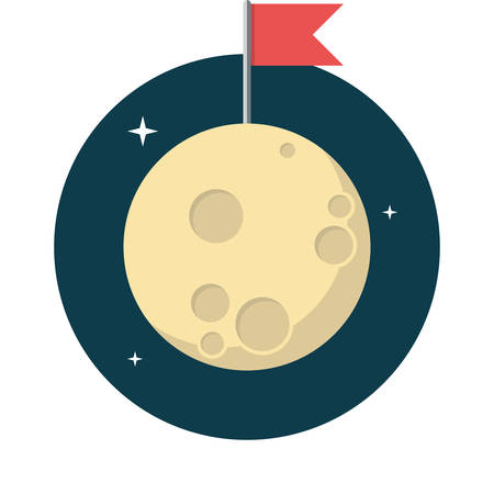 full: Moon, Flat design, vector illustration, isolated on white background