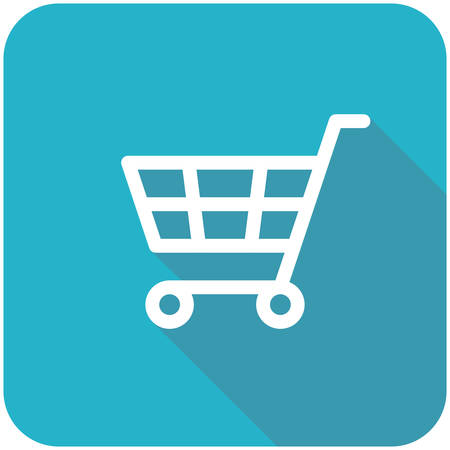 Shopping Cart icon (flat design with long shadows) Illustration