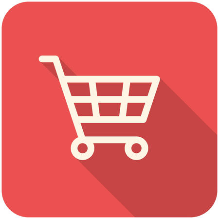 purchase icon: Shopping Cart icon (flat design with long shadows) Illustration