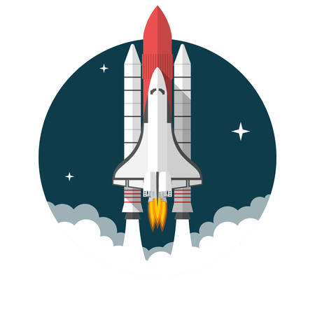 Space Shuttle, Flat design, vector illustration, isolated on white background  イラスト・ベクター素材