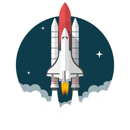 Space Shuttle, Flat ontwerp, vector illustratie, geïsoleerd op een witte achtergrond Vector Illustratie