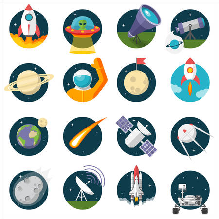series: Space, Illustration series, Flat style, isolated on white background