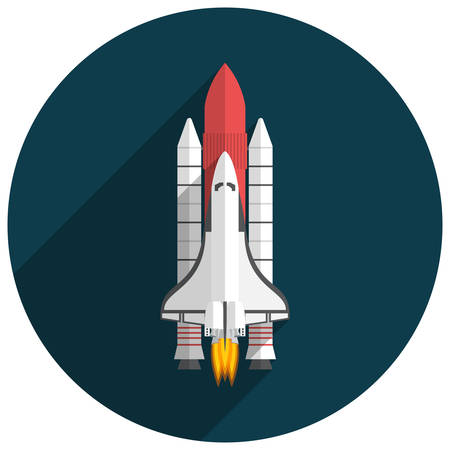shuttle: Space Shuttle, Flat design, vector illustration, long shadow Illustration