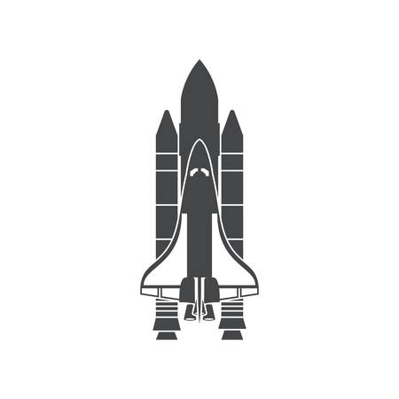 Space Shuttle, silhouette, vector illustration, isolated on white background