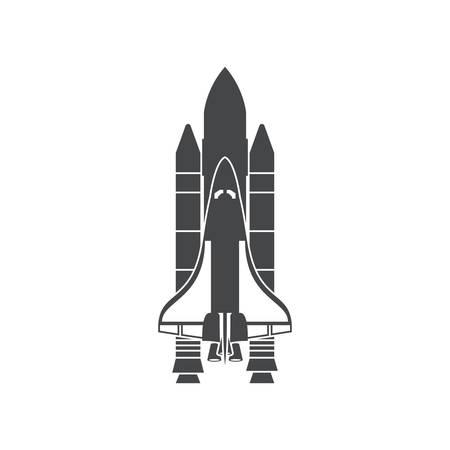 Space Shuttle, silhouet, vector illustratie, geïsoleerd op een witte achtergrond Stock Illustratie