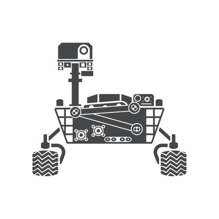 moon rover: Mars Rover, silhouette, vector illustration, isolated on white background Illustration