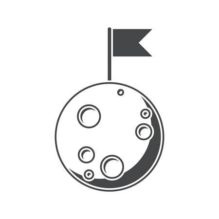 Luna, silueta, ilustración vectorial, aislados en fondo blanco