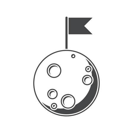 completo: Luna, silueta, ilustraci�n vectorial, aislados en fondo blanco