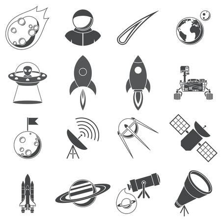 moon rover: Space, Illustration series, silhouettes, isolated on white background