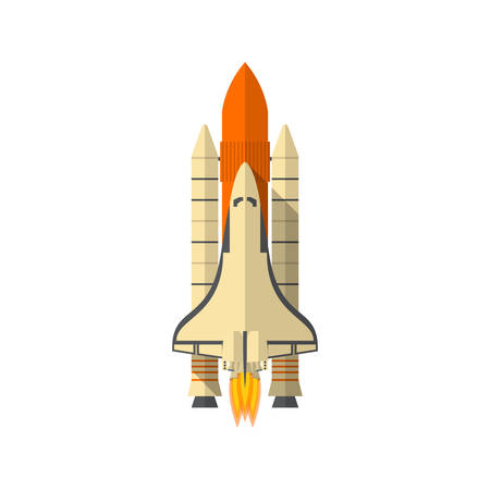 take a history: Space Shuttle, Flat design, vector illustration, isolated on white background Illustration