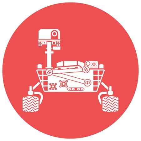 Mars Rover, silhouet, vector illustratie, geïsoleerd op een witte achtergrond Stock Illustratie