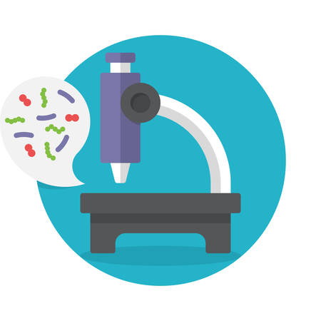Illustration biochemistry and microbiology icon depicting a laboratory microscope for examining microbes and bacteria in science, medicine and industry Ilustração