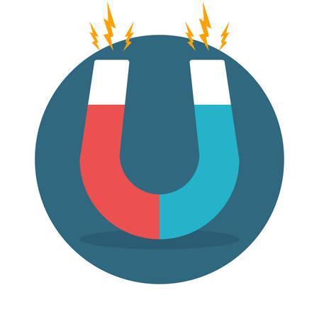 magnetism: Blue and red horseshoe magnet, magnetism, magnetize, attraction. Flat design. Vector illustration. Illustration