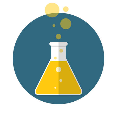 erlenmeyer: Erlenmeyer flask with liquid for research, Flat design, vector illustration