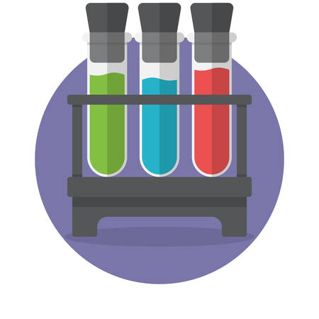 with liquids: Colored liquids in three test tubes, Flat Design, vector illustration Illustration