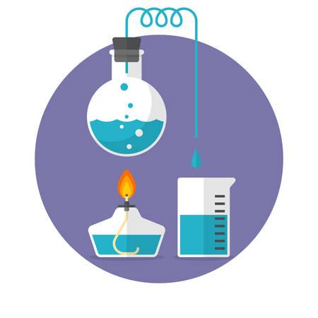 distillation: Pantalla Laboratorio de destilaci�n, Qu�mica, Dise�o plana, ilustraci�n vectorial