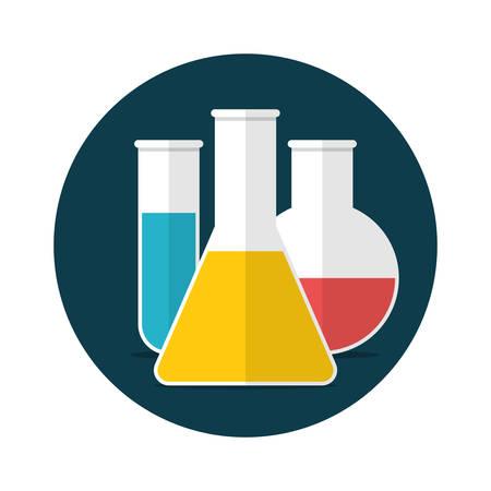 red tube: Cristalería de laboratorio con líquido colorido, diseño plano, ilustración vectorial Vectores