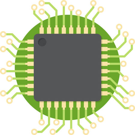 unit: CPU (central processing unit) - Computer chip or microchip. Flat design, vector illustration. Illustration