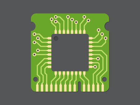 computer part: Random-access memory (RAM), flat design, vector illustration