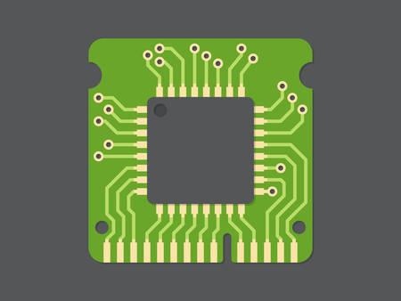 computer chip: Random-access memory (RAM), flat design, vector illustration