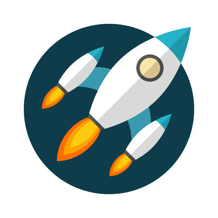 cartoon rocket: Rocket launch, Flat design