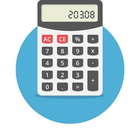 calculadora: Ilustración vectorial de la calculadora electrónica, diseño plano