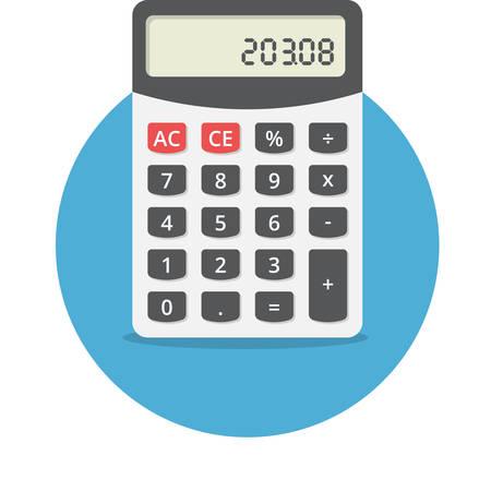 Vector illustratie van elektronische rekenmachine, platte ontwerp Stock Illustratie