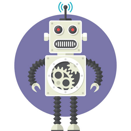 robot: Robot, Płaska konstrukcja, ilustracji wektorowych, odizolowane na białym tle Ilustracja