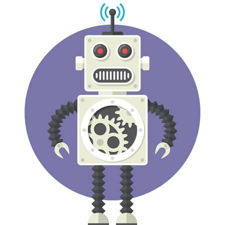 Robot, platte ontwerp, vector illustratie, geïsoleerd op een witte achtergrond Stock Illustratie