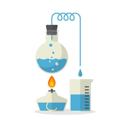 Laboratorium weergave van destillatie, Chemie, Flat Design, Vector illustratie