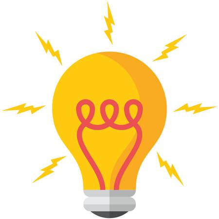電球、フラット デザイン、ベクトル図では、白い背景で隔離  イラスト・ベクター素材