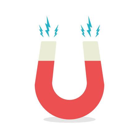 magnetismo: Ferro di cavallo magnete rosso, il magnetismo, magnetizzare, attrazione. Design piatto.