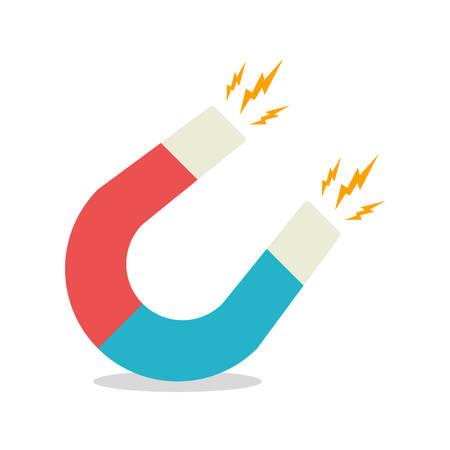 magnetismo: Blue and red horseshoe magnet, magnetism, magnetize, attraction. Flat design. Vector illustration. Vettoriali