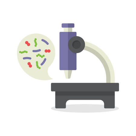bacteria microscope: Illustration biochemistry and microbiology icon depicting a laboratory microscope for examining microbes and bacteria in science, medicine and industry Illustration
