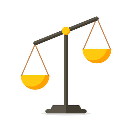 legal: Scales, Flat design, vector illustration, isolated on white background Illustration
